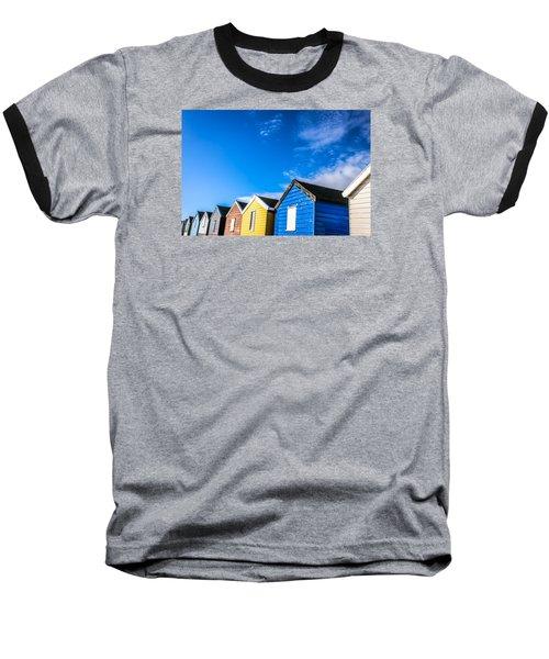 Beach Huts In The Sunlight Baseball T-Shirt by David Warrington