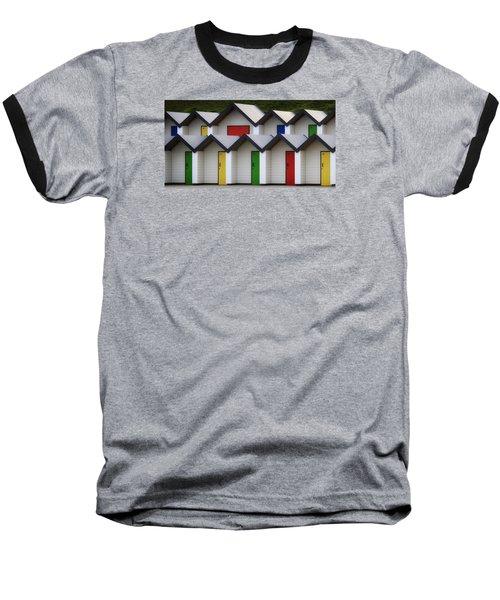 Beach Huts Baseball T-Shirt by Shirley Mitchell