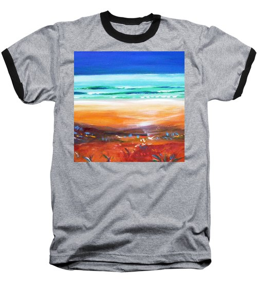 Baseball T-Shirt featuring the painting Beach Joy by Winsome Gunning