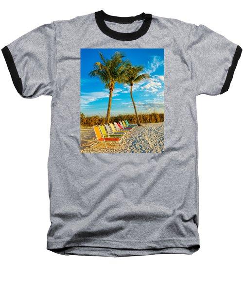 Beach Lounges Under Palms Baseball T-Shirt by Robert FERD Frank