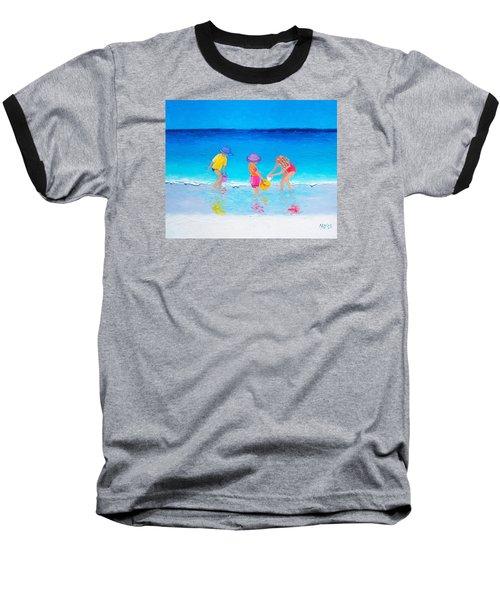 Beach Painting - Water Play  Baseball T-Shirt by Jan Matson