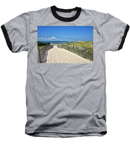 Baseball T-Shirt featuring the photograph Beach Path At Cape Henlopen State Park - The Point - Delaware by Brendan Reals