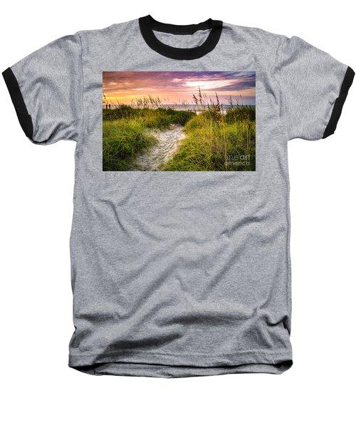 Beach Path Sunrise Baseball T-Shirt by David Smith