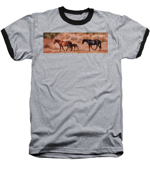 Beach Ponies - Wild Horses In The Dunes Baseball T-Shirt by Bonnie Mason