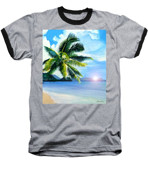 Baseball T-Shirt featuring the painting Beach Scene by Curtiss Shaffer