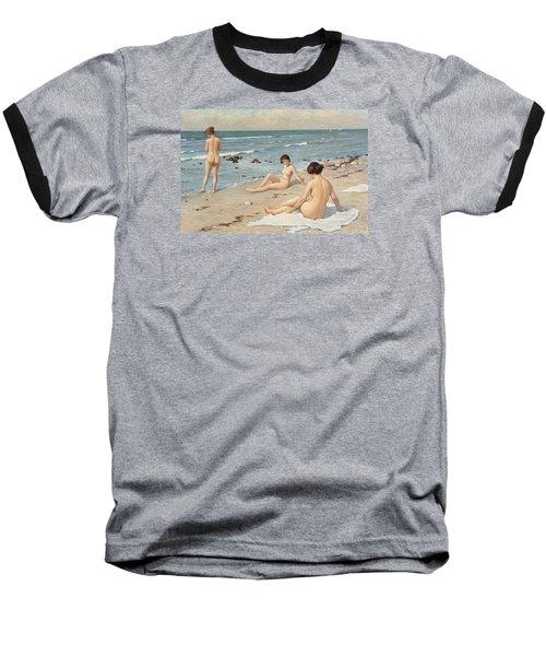 Beach Scenery With Bathing Women Baseball T-Shirt by Paul Fischer