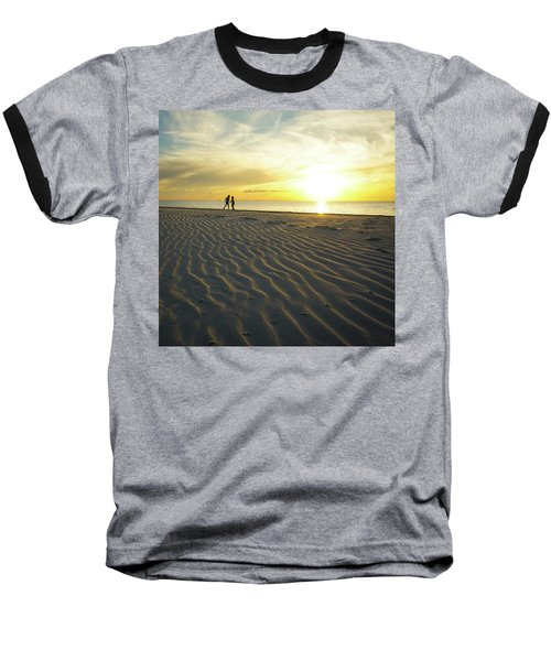 Beach Silhouettes And Sand Ripples At Sunset Baseball T-Shirt