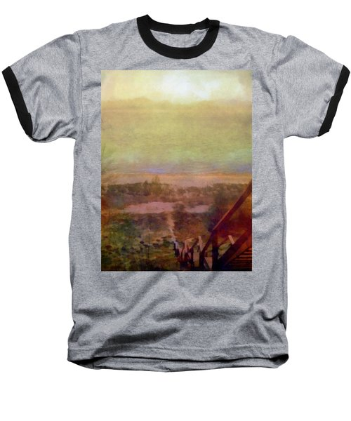 Baseball T-Shirt featuring the digital art Beach Stairs With Hazy Sky by Michelle Calkins