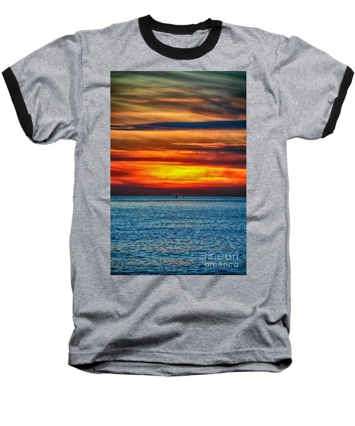 Baseball T-Shirt featuring the photograph Beach Sunset And Boat by Mariola Bitner