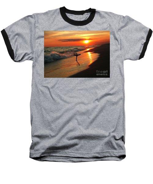 Beach Sunset And Cross Baseball T-Shirt by Luana K Perez