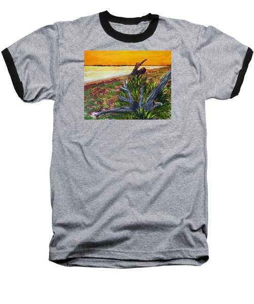 Baseball T-Shirt featuring the painting Beach Sunset by Jack G  Brauer