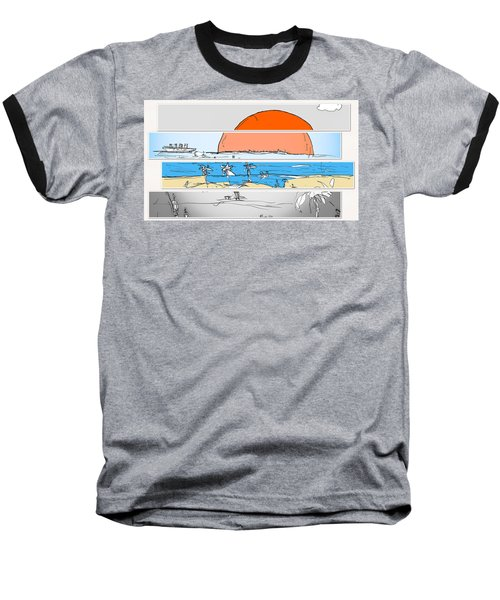 Beach Sunset Baseball T-Shirt