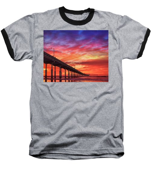 Beach Sunset Ocean Wall Art San Diego Artwork Baseball T-Shirt