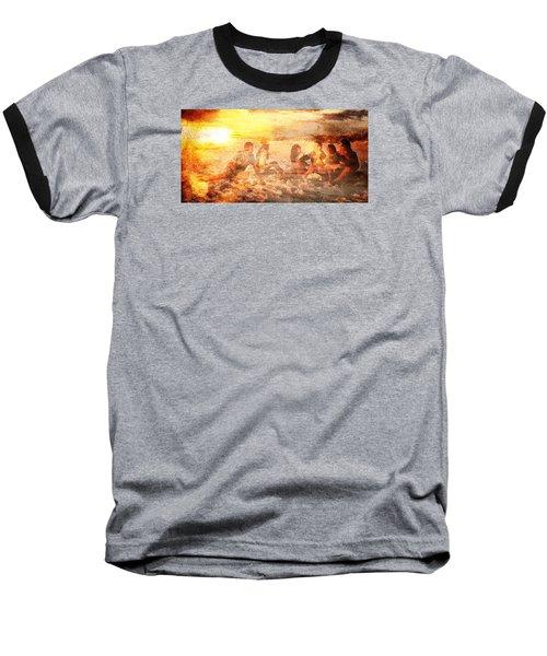 Beach Sunset With Friends Baseball T-Shirt