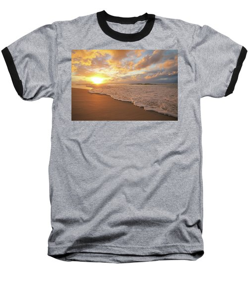 Beach Sunset With Golden Clouds Baseball T-Shirt