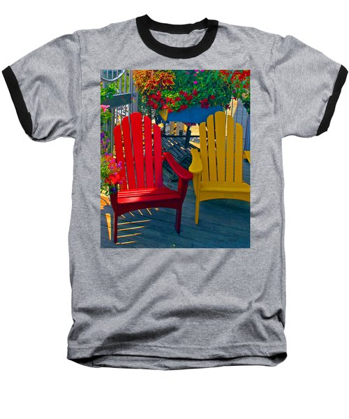 Beach Town Charm Baseball T-Shirt by Marie Hicks