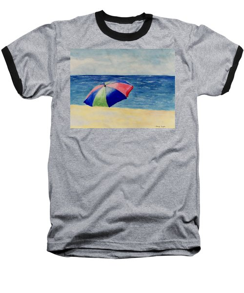 Baseball T-Shirt featuring the painting Beach Umbrella by Jamie Frier