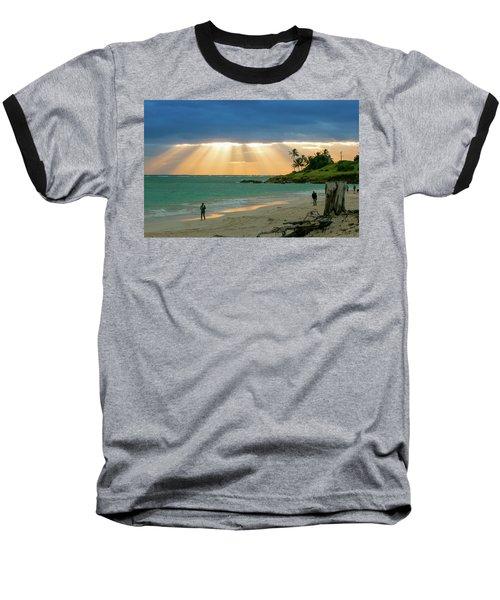 Beach Walk At Sunrise Baseball T-Shirt by E Faithe Lester