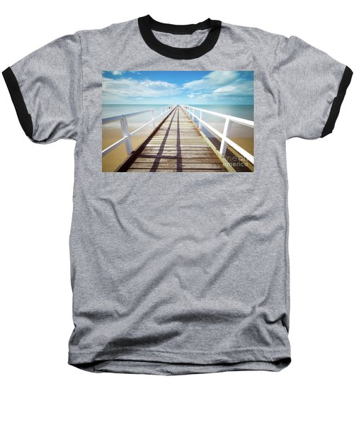 Baseball T-Shirt featuring the photograph Beach Walk by MGL Meiklejohn Graphics Licensing