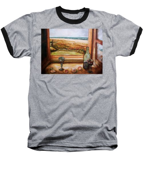 Baseball T-Shirt featuring the painting Beach Window by Winsome Gunning
