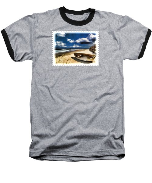 Beached Boat Before The Storm Baseball T-Shirt