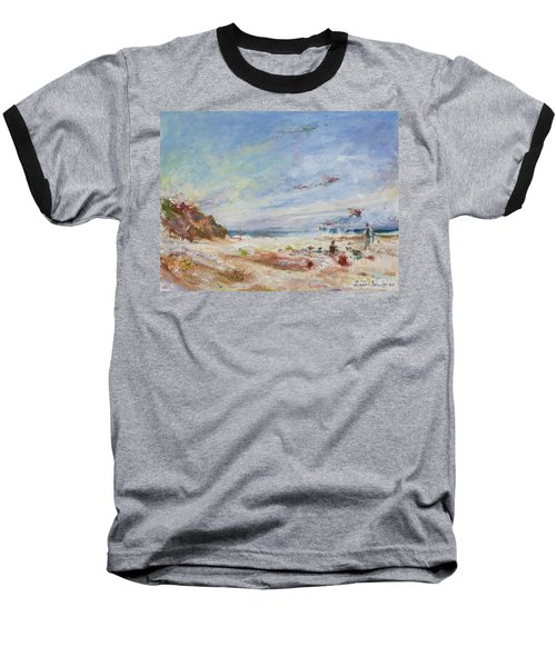 Beachy Day - Impressionist Painting - Original Contemporary Baseball T-Shirt