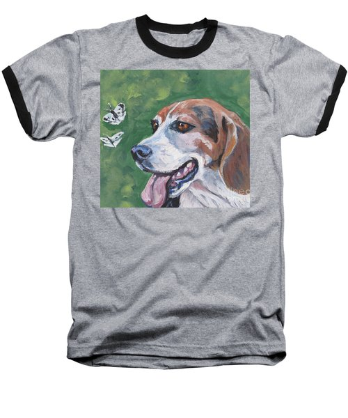 Baseball T-Shirt featuring the painting Beagle And Butterflies by Lee Ann Shepard