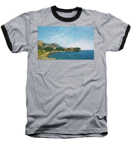 Baseball T-Shirt featuring the painting Bealieu - The Bay Of Fourmis by Eugene Boudin