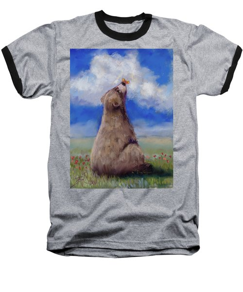 Baseball T-Shirt featuring the pastel Bear And Butterfly by Billie Colson