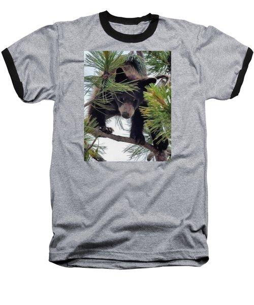 Bear Cub Playing In A Tree 2 Baseball T-Shirt