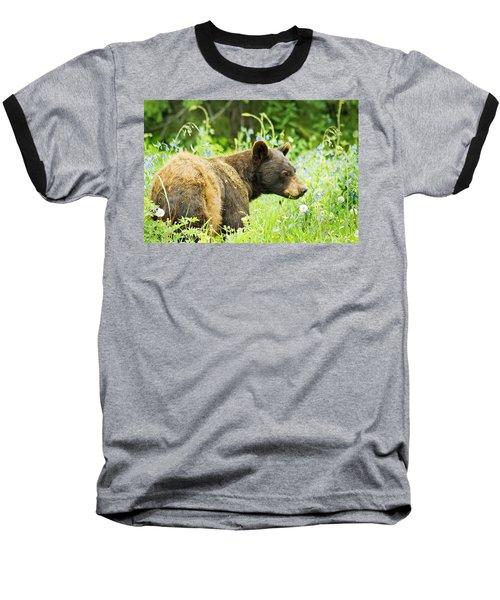 Bear In Flowers Baseball T-Shirt