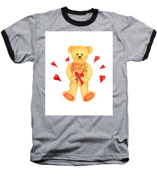 Baseball T-Shirt featuring the painting Bear In Love by Elizabeth Lock
