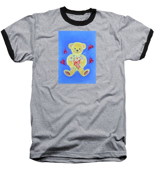 Baseball T-Shirt featuring the pastel Bear With Flowers by Elizabeth Lock