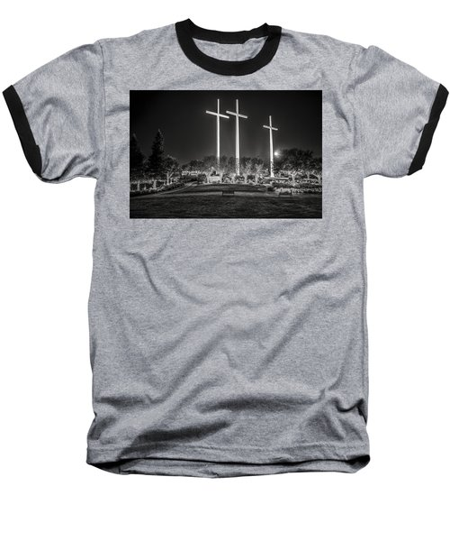 Bearing Witness In Black-and-white Baseball T-Shirt by Andy Crawford