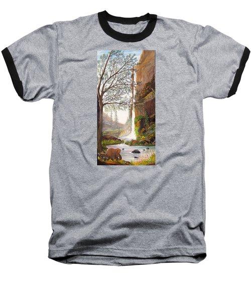 Bears At Waterfall Baseball T-Shirt by Myrna Walsh
