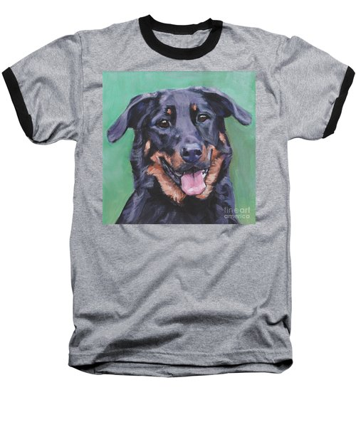 Baseball T-Shirt featuring the painting Beauceron Portrait by Lee Ann Shepard