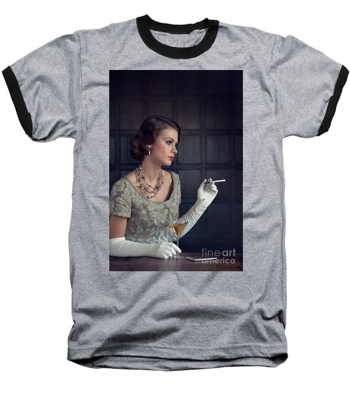 Beautiful 1930s Woman With Cocktail And Cigarette Baseball T-Shirt