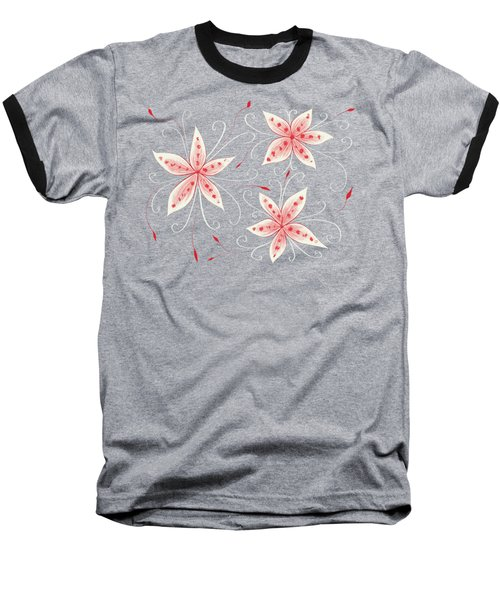 Beautiful Abstract White Red Flowers Baseball T-Shirt