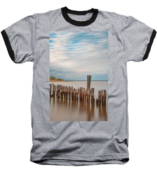 Baseball T-Shirt featuring the photograph Beautiful Aging Pilings In Keyport by Gary Slawsky