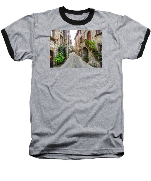 Beautiful Alleyway In The Historic Town Of Vitorchiano, Lazio, I Baseball T-Shirt by JR Photography
