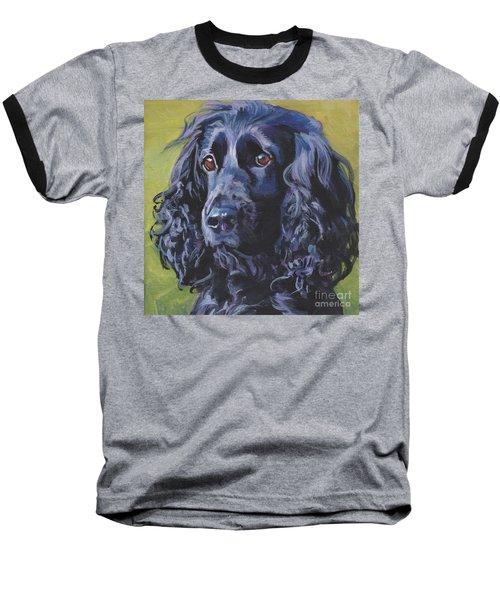 Baseball T-Shirt featuring the painting Beautiful Black English Cocker Spaniel by Lee Ann Shepard