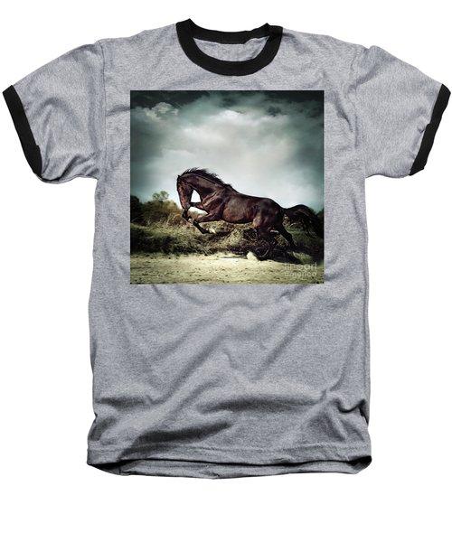 Beautiful Black Stallion Horse Running On The Stormy Sky Baseball T-Shirt