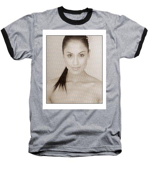 Beautiful Brunette In Studio Baseball T-Shirt