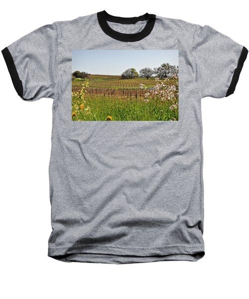 Beautiful California Vineyard Framed With Flowers Baseball T-Shirt