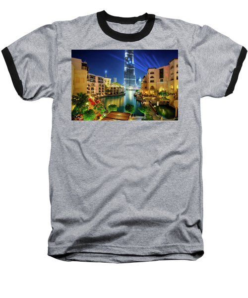 Beautiful Downtown Area In Dubai At Night, Dubai, United Arab Emirates Baseball T-Shirt