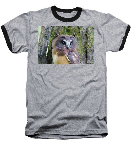 Beautiful Eyes Of A Saw-whet Owl Chick Baseball T-Shirt
