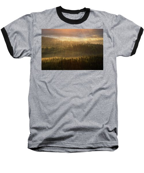 Beautiful Foggy Forest During Autumn Sunrise, Saxon Switzerland, Germany Baseball T-Shirt