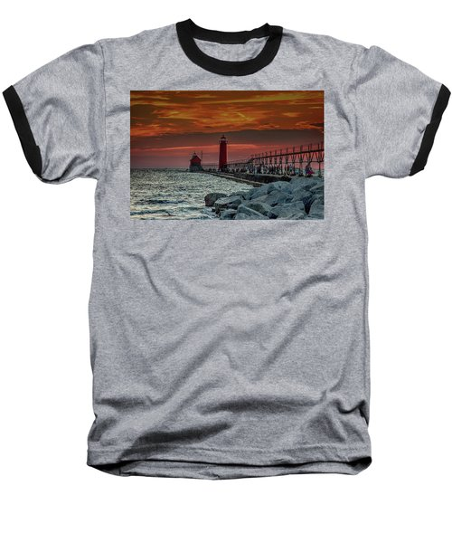 Sunset At Grand Haven Pier Baseball T-Shirt