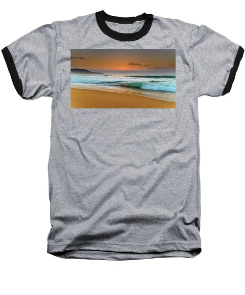 Beautiful Hazy Sunrise Seascape  Baseball T-Shirt