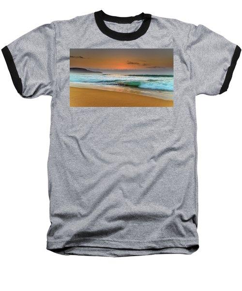 Beautiful Hazy Sunrise Seascape  Baseball T-Shirt